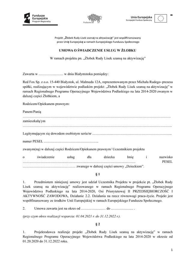 Umowa o świadczenie usług w żłobku